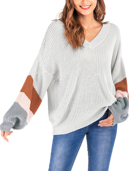 2020 Spring and Winter Sweater New Style Popular Fashion V-neck Knit Shirt Large Big Long Sleeves Sweater Woollen Tops Sweaters