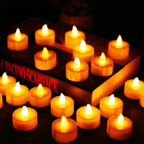 12Pcs Battery Operated LED Tea Lights Candles Flameless  Weeding Decor