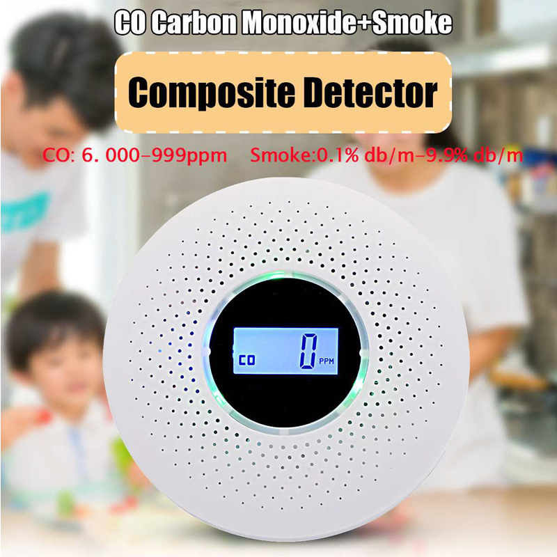 High Sensitive 2 In 1 LCD Display Digital Gas Smoke Alarm CO Carbon Monoxide Detector Sound Light Alarm Warning Security Sensor