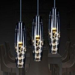 Nowoczesna minimalistyczna szklana kryształowa restauracja długa płyta żyrandol bar linka wędkarska wisząca lampa YHJ121901 w Wiszące lampki od Lampy i oświetlenie na