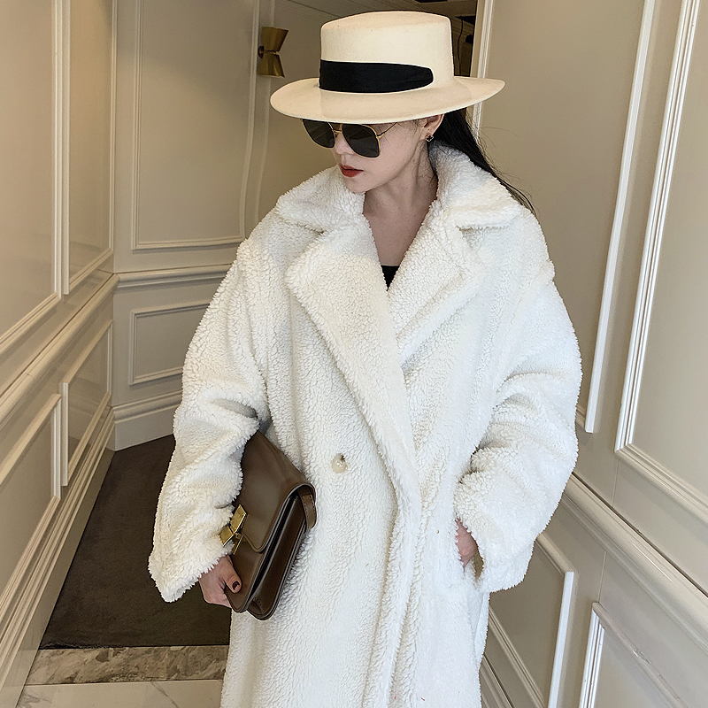 New Solid Fur Medium And Long Thick Plush Granular Fluffy Coat For Women In Fall Winter 2020