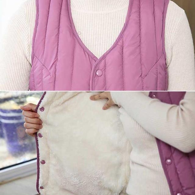 Women Sleeveless Vest Winter Warm Plus Size 4XL Down Cotton Padded Jacket villus Female Veats Slim fit Sleeveless Waistcoat 713 6