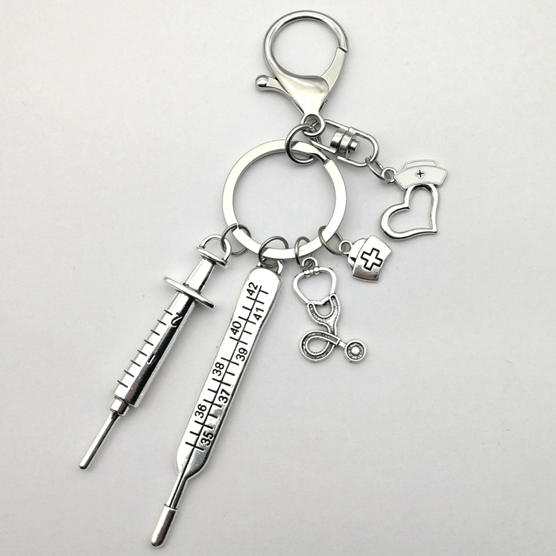 2020 New Nurse Medical Box Medical Key Chain Needle Syringe Stethoscope Love Cute Keychain White drip oil nurse cap Jewelry Gift