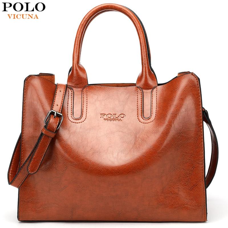 VICUNA POLO Top Sell Classic Women Leather Handbag Durable Big Size Ladies Shoulder Bags Crossbody Sling Bag Sac Main Femme