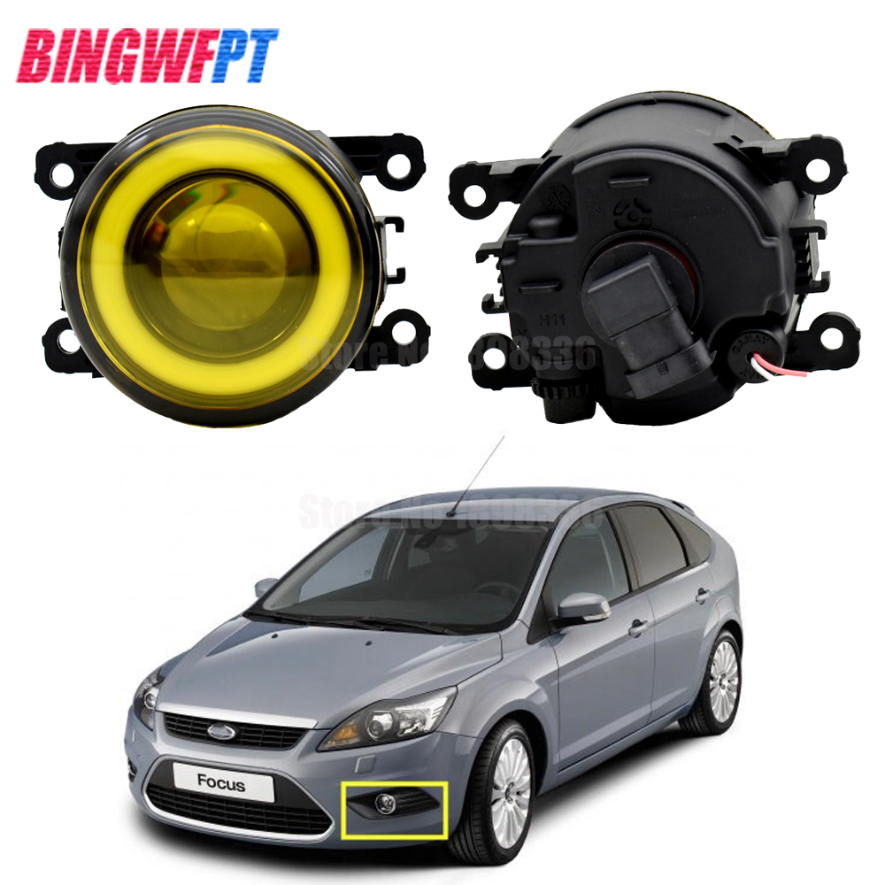 2pcs/pair H11 90mm LED Fog Lamp Assembly Angel Eyes For FORD TRANSIT TOURNEO TRANSIT CUSTOM FOCUS MK2/3 Platform Chassis FUSION
