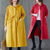 Korean Style Women Trench Coat Loose Size Solid Color Windbreaker