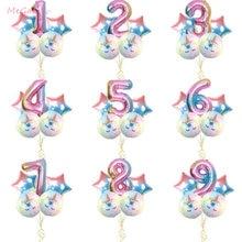 5 unids/set hermosa gradiente ronda estrella unicornio globo de fiesta de 32 pulgadas número globo suministros de decoración para fiesta de cumpleaños