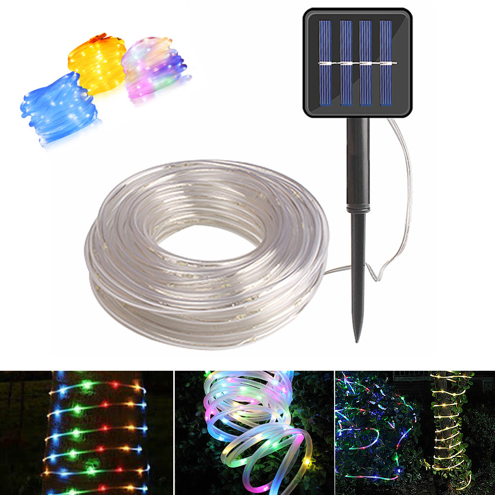 Image 1 - 12m 100 Led Solar Garden Light Outdoor Rope Tube String Lights 50 Led Strip Solar Power Lamp Waterproof Wedding Xmas Fairy Decor-in Solar Lamps from Lights & Lighting