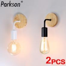 2Pcs/lot Vintage Wood Wall Lamp E27 Light Bulb Retro Industrial Wall Light Fixture For