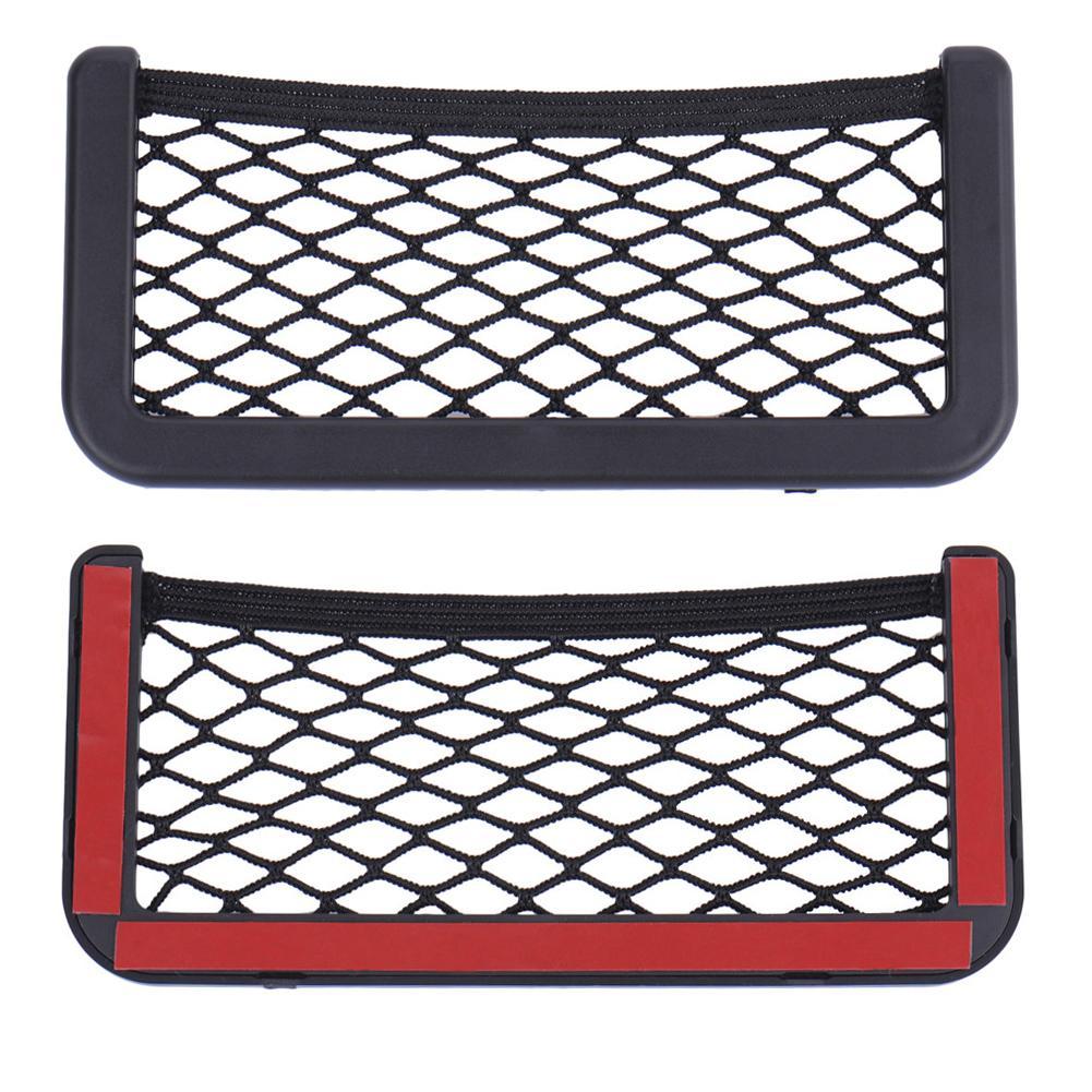 Universal Black Car Net Bag Phone Holder Storage Mesh Net Pocket Organizer Car Storage Bag Pocket For Wallet, Keys, Pens 1
