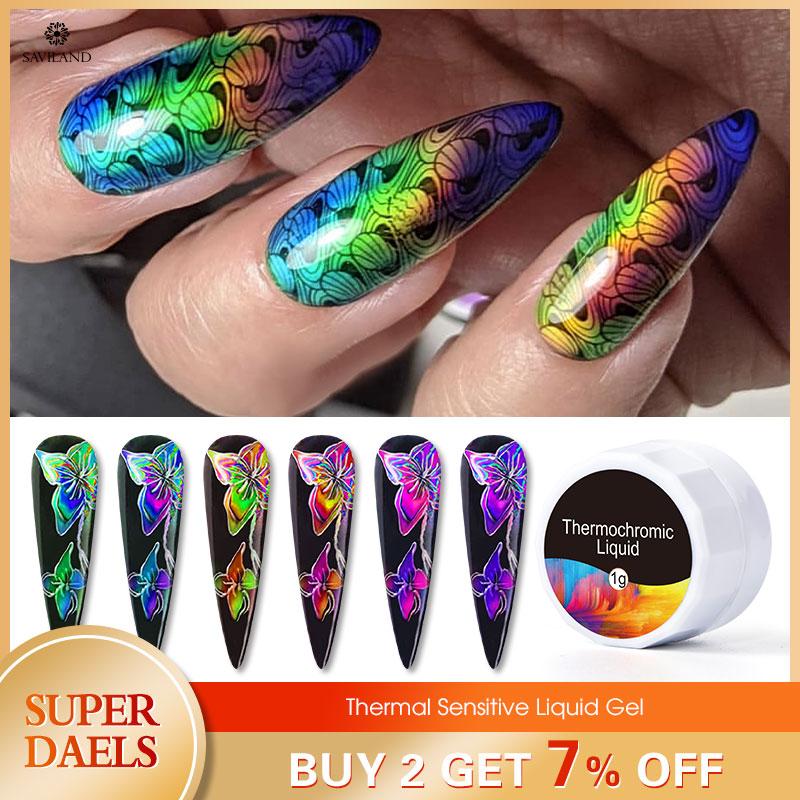 SAVILAND Thermal Liquid Auroras Nail Touch Color Changing Uv Nail Gel Polish Paint Gel Butterfly Stamping Nail Art Tips Black