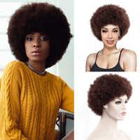 Synthetische Perücke Afro Frauen Sortieren Bppm Haar Stil Weiche Faser Verworrene 12 Zoll Groß Haar Schwarz für Party Dance Perücken mit Pony