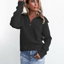 2019 New Women Casual Patchwork Knitted Sweater Tops Long Sleeve Loose Sweaters Jumper Pullover