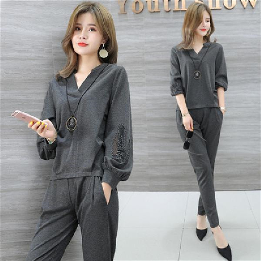 Spring Two Piece Sets Women Plus Size Long Sleeve Tops And Pants Sets Suits Casual Office Elegant Ladies Women's Sets