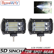 BraveWay 5 Inch Led Work Light 72W Spot Flood Beam DRL Extra light for Boat Truck SUV ATV 4x4 Offroad Led Work Light Bar 12V 24V ecahayaku 1 pcs 4d 4 inch 20w led work light bar 12v 24v spot beam offroad 4x4 led work lamp drl for truck boat atv suv jeep 4x4