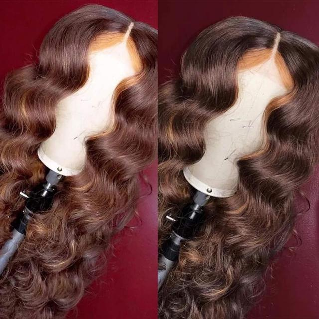 Ombre Honey With Brown Wave Wig 13x6 Lace Front Human Hair Wigs Pre Plucked Ombre Color Brazilian Lace Wigs Bleached Knots 3