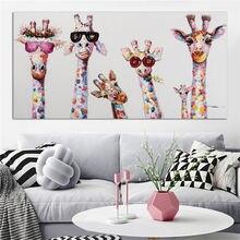 Милый жираф детская комната декор для спальни холст картина