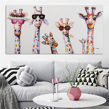Cute giraffe childs room bedroom decor canvas animal painting modern canvas prints art dropshipping home decor posters prints