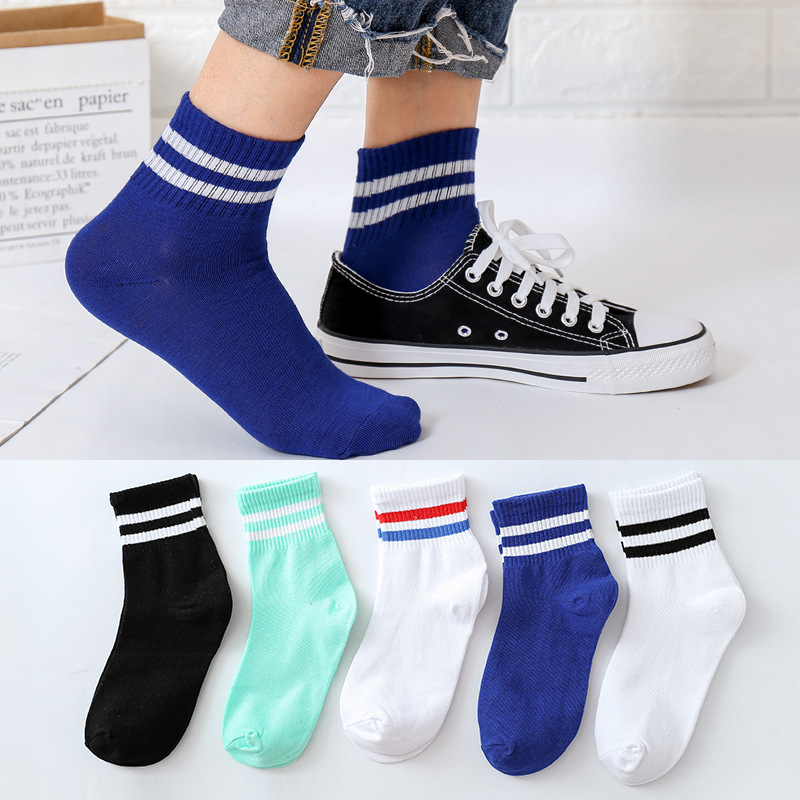 1 Pair Men's And Women's Mid Tank Socks In Autumn And Winter Breathable Casual Sports Antiskid  Stripe Student Mid Tank Socks