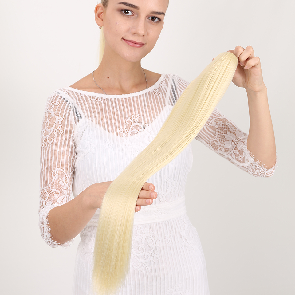 MANWEI 24inch Synthetic Hair Long Straight High Temperature Fiber Wrap Around Ponytail Hair Extension  120g