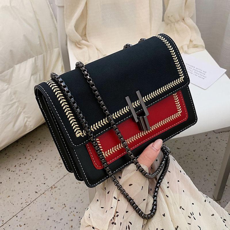 Contrast Color Scrub Leather Crossbody Bags For Women 2020 Shoulder Messenger Bag Female Small Handbags And Purses