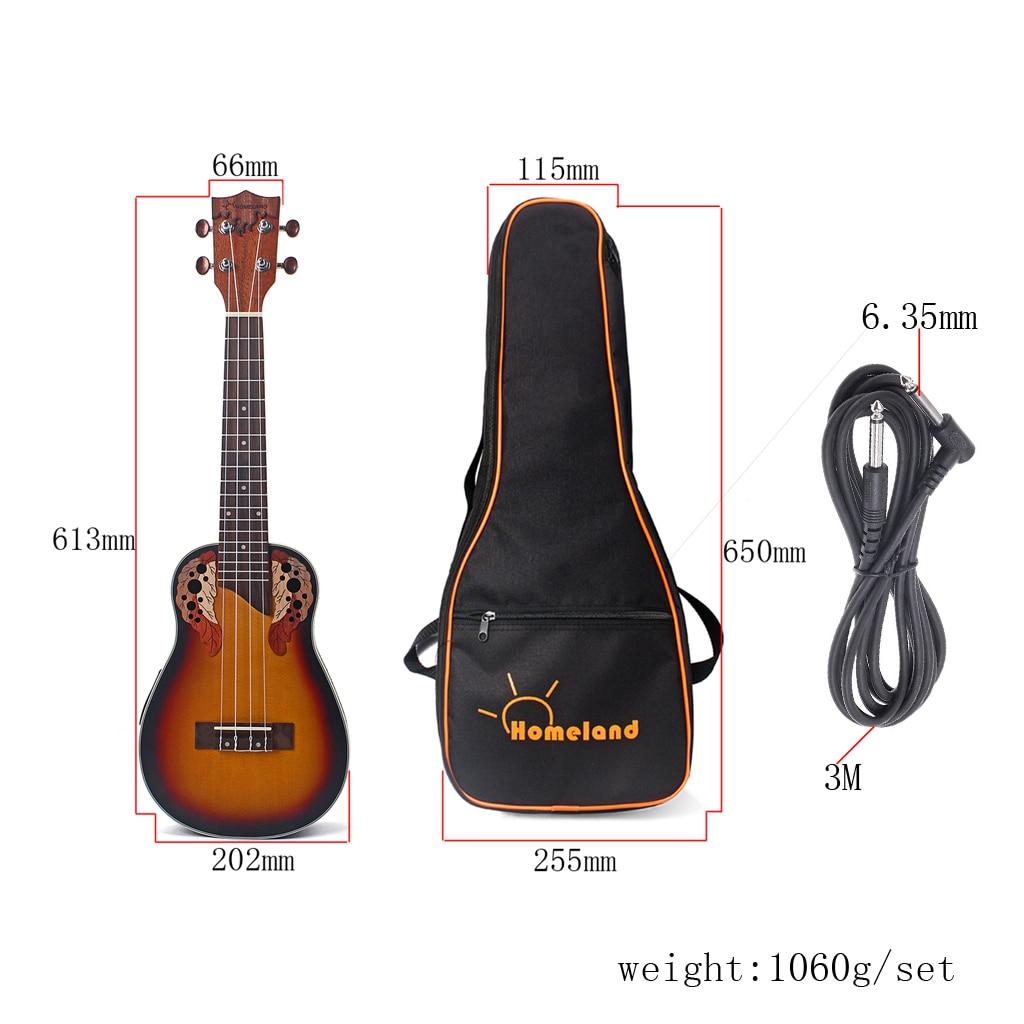 Exquisite Spruce Wood 23inch Ukulele EQ Equalizer 4 String Guitar Uke With Gig Bag Strap 6.35mm Cable - 2