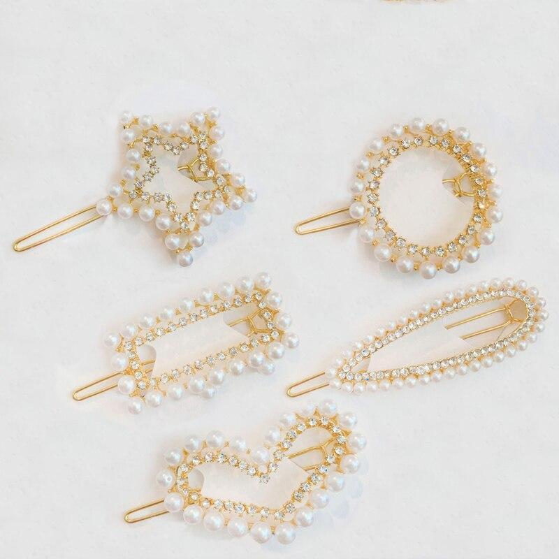 Fashion Pearl Hair Clip Flash Crystal Hairpin Sweet Metal Duckbill Clip Simple Side Clip Bangs Headwear Hair Accessories