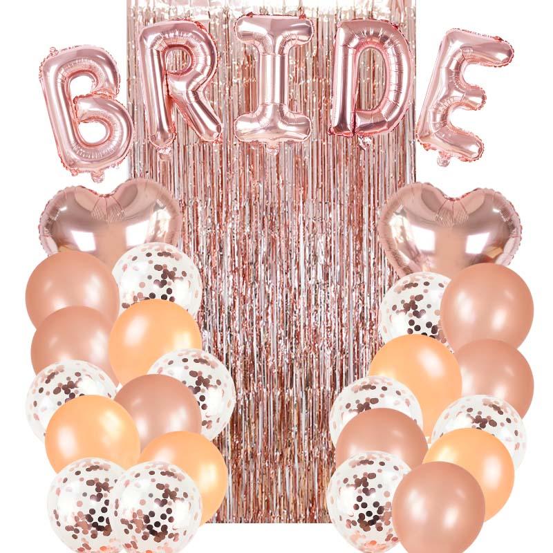 1Set Rose Gold Bride Foil Balloons Kit Bridal Shower Bachelor Theme Party Background Decoration Wedding Curtain Supplies