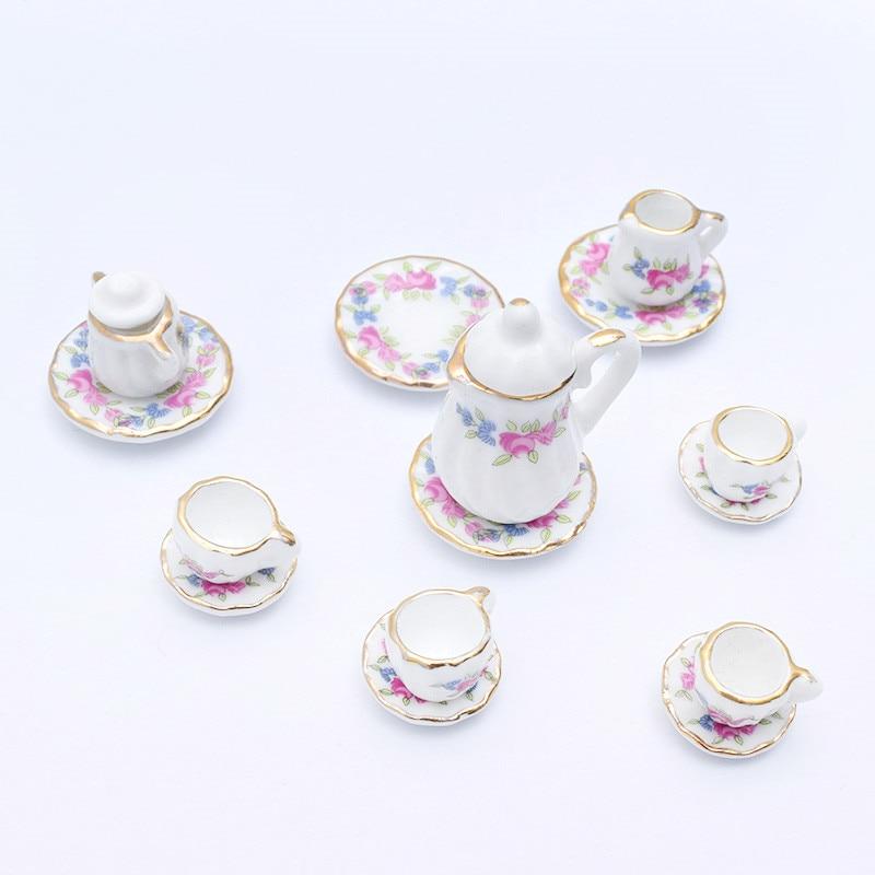 19 Patterns  1:12 Miniature 15pcs Porcelain Tea Cup Set Chintz Flower Tableware Kitchen Dollhouse