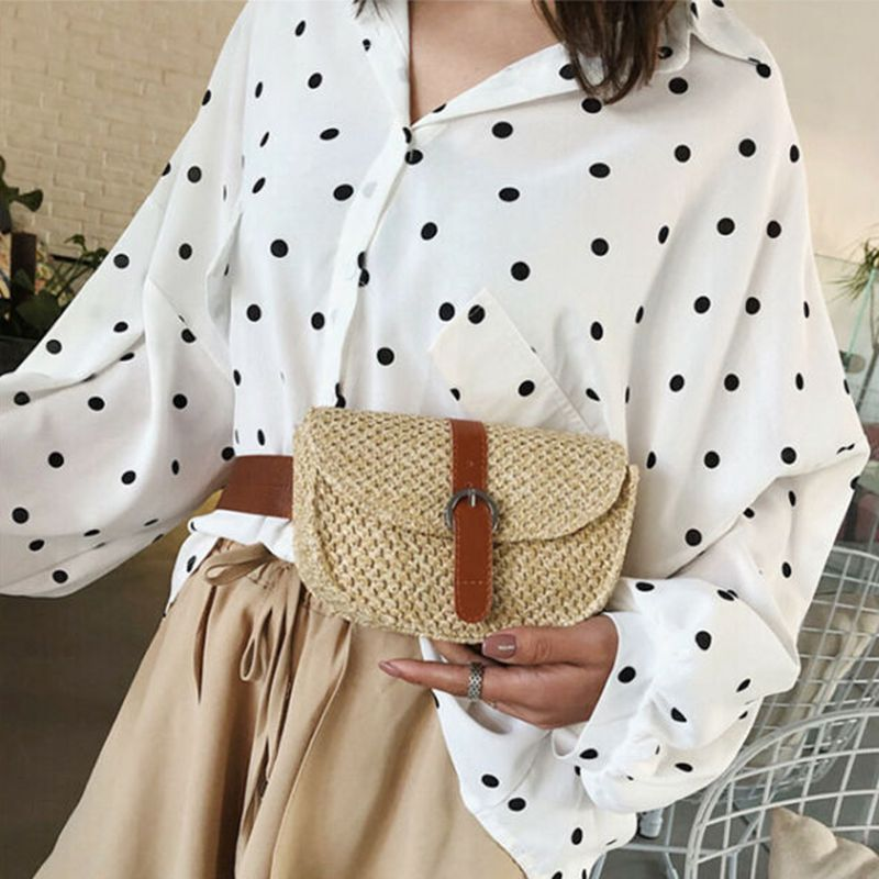 Fashion Women Bags Boho Beach Bag Retro Vintage Rattan Straw Bag Wicker Basket Solid Shoulder Bags /BY