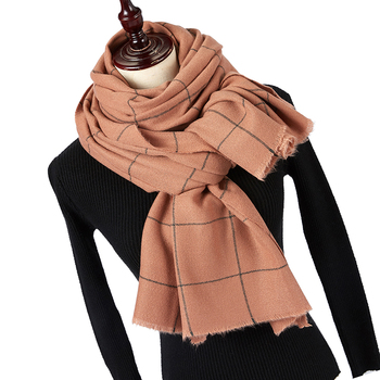 Winter Solider Color Knitting Fashion Plaid Scarf For Women Ladies Cashmere Pashmina Scarf Long Scarf