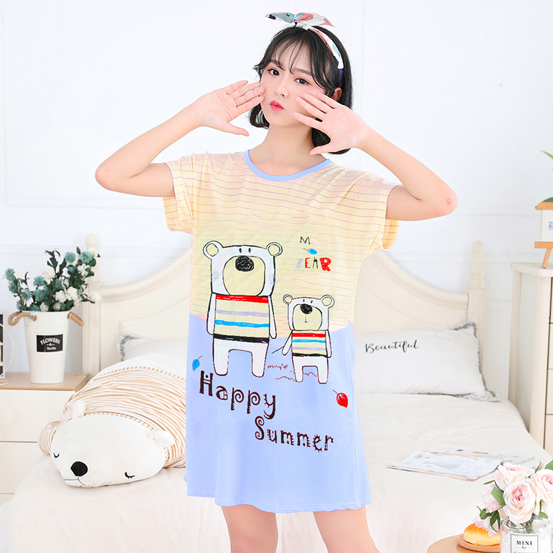 Manufacturers Direct Selling Summer New Style Cute Cartoon Nightgown Loose Comfortable Qmilch Fabric Home Wear