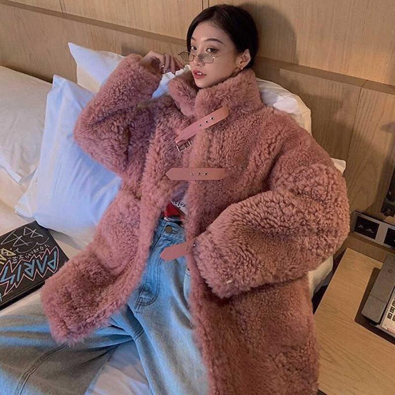 Bella felsefe kadın rahat kalın sıcak dış giyim uzun sahte kuzu kürk ceket gevşek kış ceket kadın siyah kürk ceket