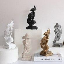 Resin Sculpture Nordic Home Decoration Silence Is Gold Statue Office Living Room Desktop Decoration Creative Model Art Supplies