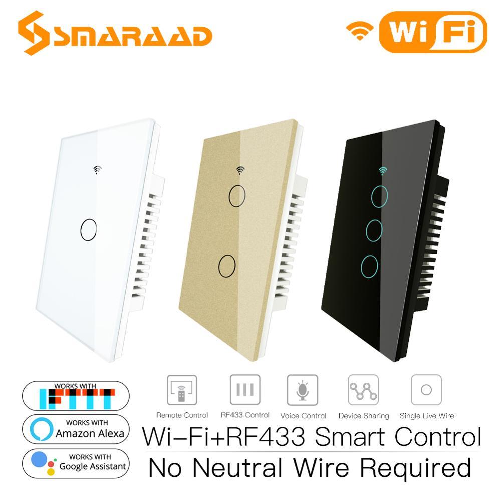 Single Fire WiFi RF433 Smart Wall Switch Wireless Smart Life Tuya Remote Control No Neutral Wire Work With Alexa Multicolour