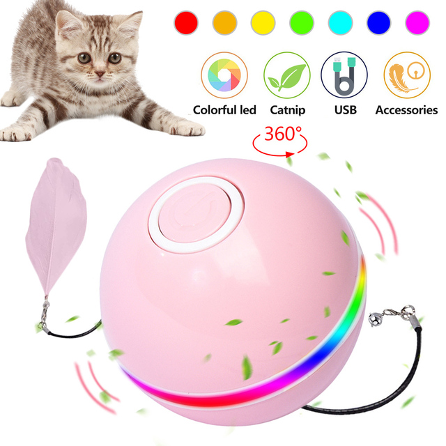 Smart Interactive Cat Toy - Colorful LED Self Rotating Ball With Catnip 1