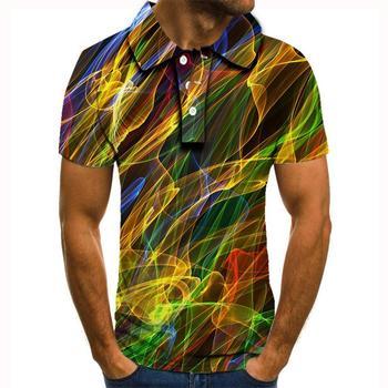 2020nowa letnia koszulka Polo mężczyźni z krótkim rękawem linia 3D drukowane Polo Homme śmieszne koszulka polo mężczyźni topy polo para hombre koszulka Polo mężczyzn tanie i dobre opinie krótkie REGULAR Na co dzień guzik Drukuj POLIESTER Szybkoschnące Gradient