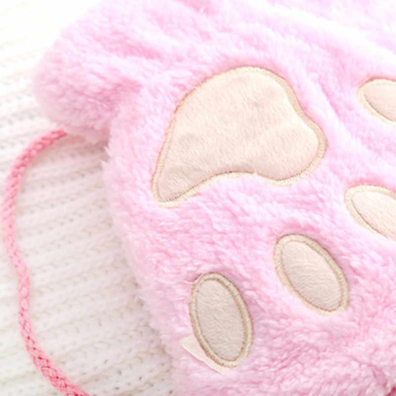 جديد الدب القفازات مزدوجة سميكة أفخم الشتاء قفازات القفازات الإناث الدافئة الكشمير ثلاثة الأضلاع لطيف المعصم المرأة تعمل باللمس القيادة