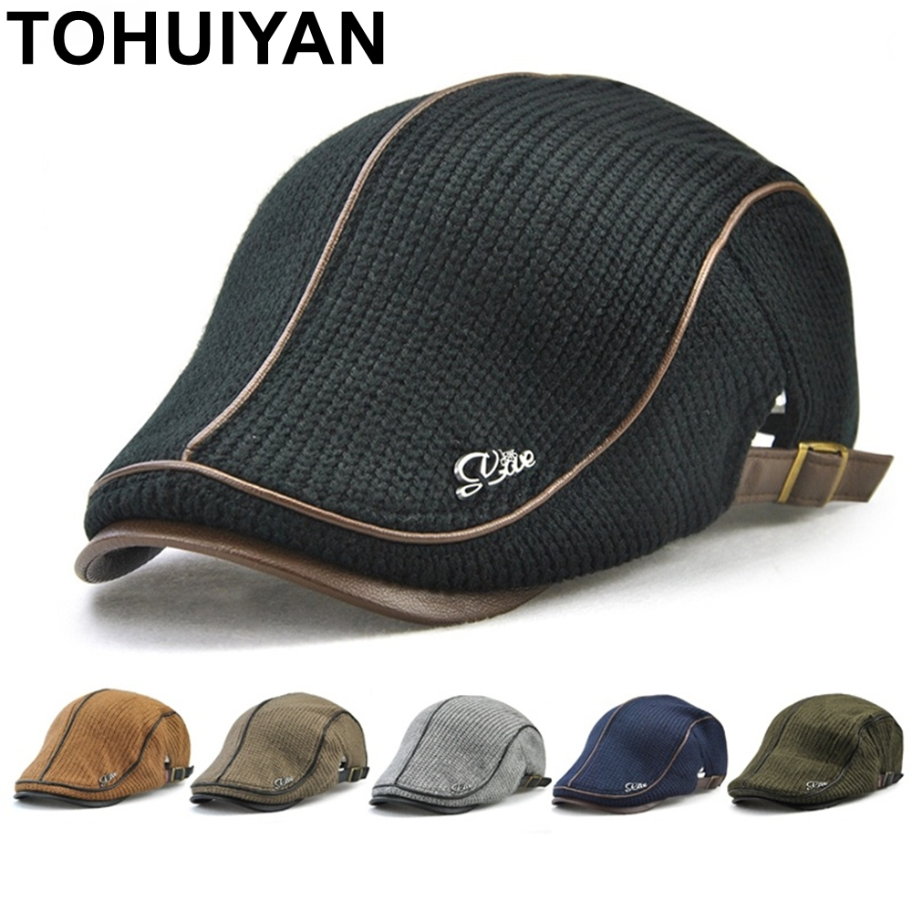 TOHUIYAN Mens Knitted Wool Newsboy Cap Winter Warm Hat For Male Duckbill Visor Flat Caps Boina Cabbie Hats Classic Baker Boy Hat