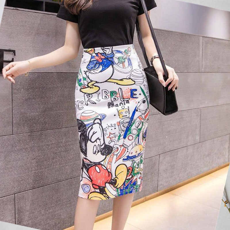 2020New Womens Summer Skirt 꽉 캐주얼 만화 미키 마우스 프린트 스플릿 펜슬 스커트 섹시한 하이 웨이스트 슬림 무릎 스커트