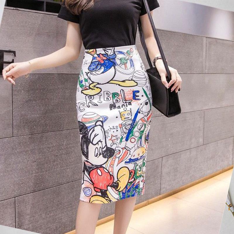 New Women's Summer Skirt Tight Casual Cartoon Mickey Mouse Printed Split Pencil Skirt Sexy High Waist Slim Knee Skirt
