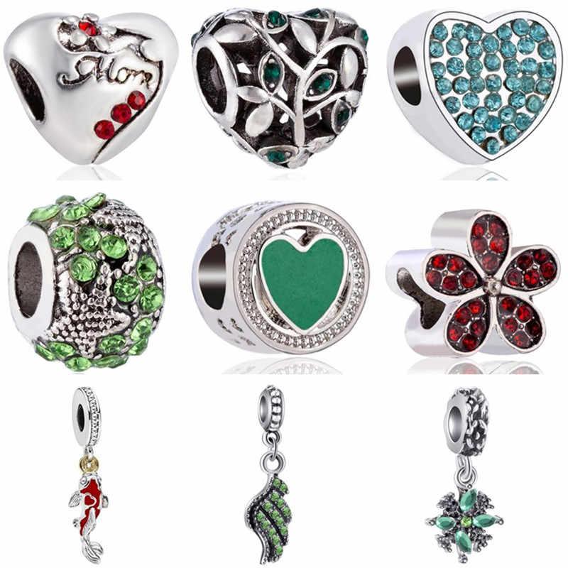 Floco De Neve de alta Qualidade Luxuoso Asa Peixes Ramo Infinito Coração Beads Fit Encantos Pandora Originais para As Mulheres DIY Jóias Bugiganga