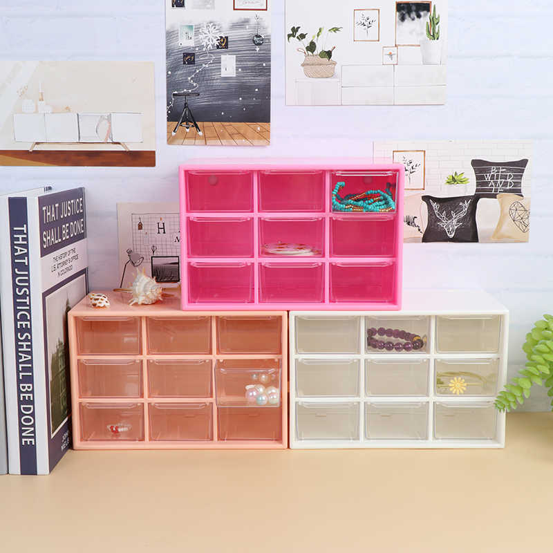1 Pcs 9Grid Storage Case Box Holder Container 3 Layer Houder Student Kantoorbenodigdheden