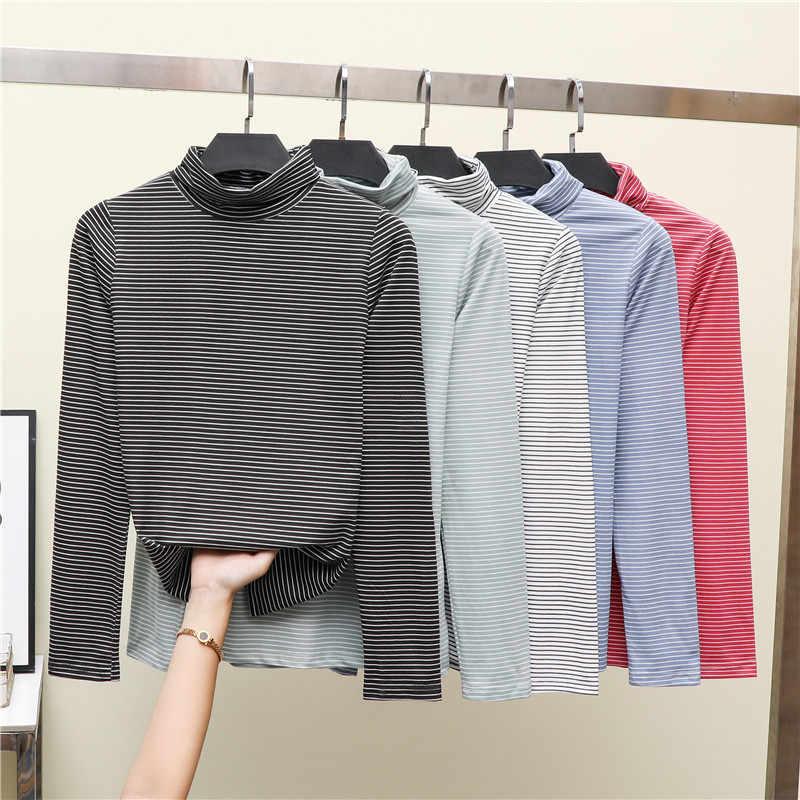 Wiosna jesień moda kobiety stałe podstawowy t-shirt długie rękawy Turtle Neck koszulki z krótkim rękawem dla kobiet Casual Tees topy koszule damskie
