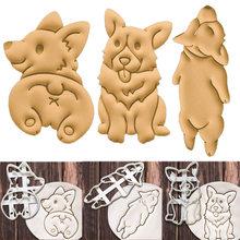 3 tipo 3 peças/set de corgi cão em forma de biscoito molde bonito molde utensílios de cozinha ferramentas de cozimento 3d tridimensional diy ferramenta