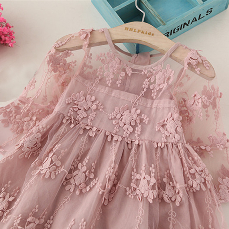 H07355393e30d4982aeae92a4dec68a18y Girls Dress 2019 New Summer Brand Girls Clothes Lace And Ball Design Baby Girls Dress Party Dress For 3-8 Years Infant Dresses