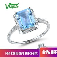 VISTOSO 14K 585 White Gold Rings For Women Shiny Diamond Limpid Sky Blue Topaz/Green Amethyst Anniversary Classic Fine Jewelry