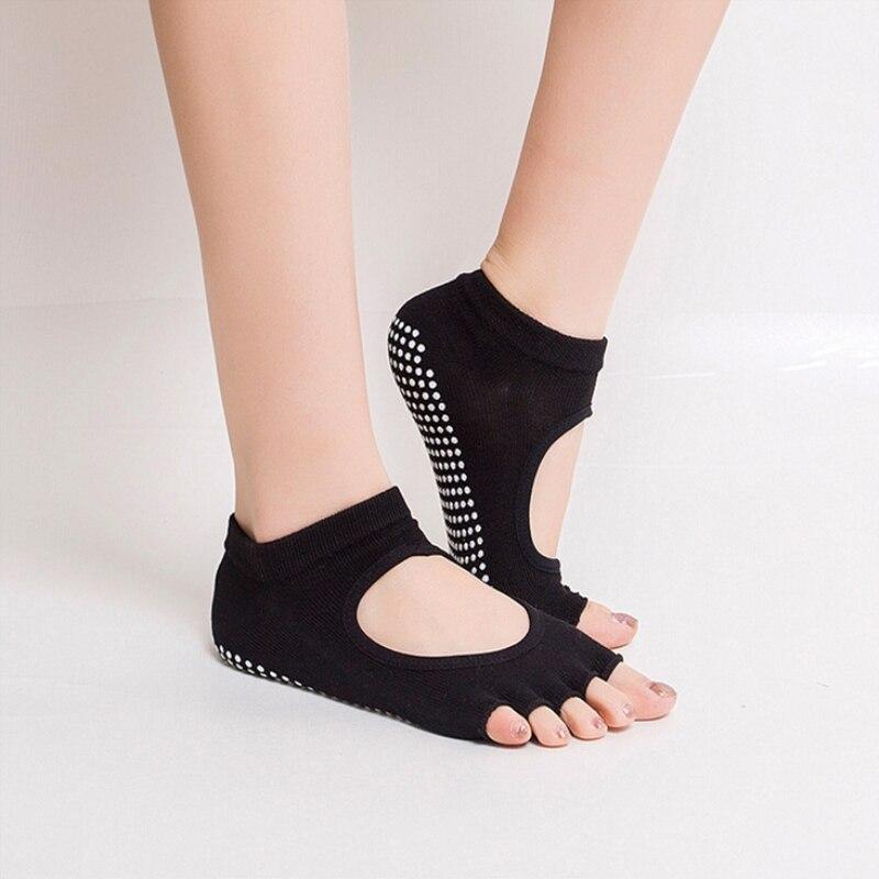 15 Colors Women Yoga Backless Five Toe Anti-Slip Ankle Grip Socks Dots Pilates Fitness Gym Socks Ladies Sports Socks