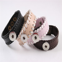 Wholesales Snap Bracelet Widened Leather Replaceable Button Inspired Vintage Hand Woven Fashion Jewelry Pink Brown For Women Men