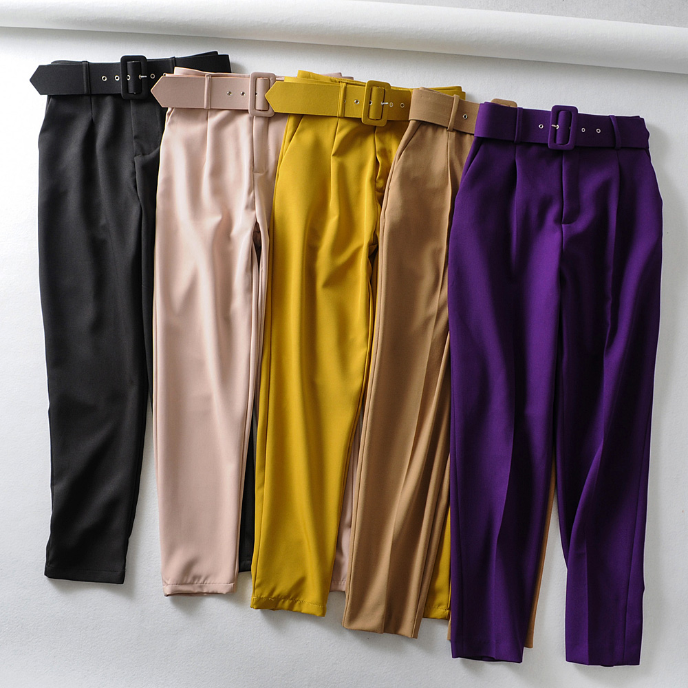Women Elegant Black Pants Sashes Pockets Zipper Fly Solid Ladies Streetwear 2020 Casual Chic Trousers Pantalones 9 Colors